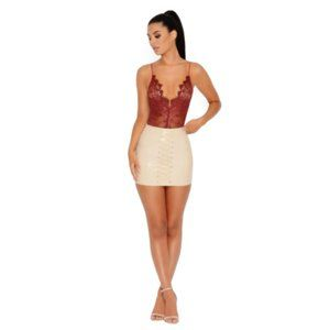Oh Polly Of Corset Lace Up Vinyl Mini Skirt- Beige